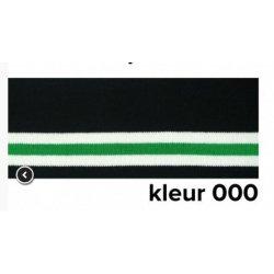 Boord gestreept  zwart met wit en groen 110cm lang en 7cm breed