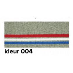 Boord gestreept grijs met rood, wit en blauw 110cm lang en 7cm breed