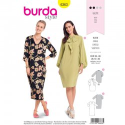 Burda 6363 Jurken van Crepe, Satijn of Viscose