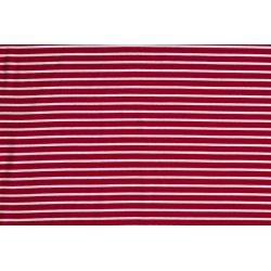 Jersey Katoen met strepen 02220 rood 015