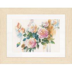 Telpakket kit Licht rose rozenboeket Lanarte