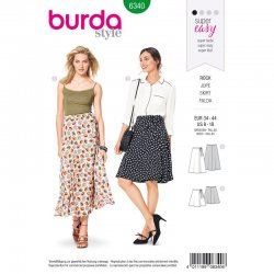 Burda 6340 Rokken van Viscose, Katoen of Crepe. Super Easy