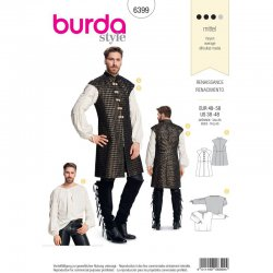 Burda 6399 Heren blouse en jasje Historisch van jacquard, wol, katoen of linnen.