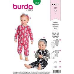 Burda 9328 Baby Jumpsuit van tricot, Jersey, Jogging, Punti
