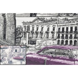 Jacquard met oude auto en huis 130314