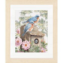 Lanarte Blauwe vogels op huisje Op Linnen of Aida