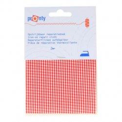 Pronty Reparatiedoek ruit opstrijkbaar 10x40cm kleur 002 rood