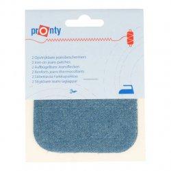 Pronty Kniestukken Jeans opstrijkbaar 2st 075 l blauw