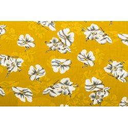 Satijn geel met bloemen 10255 037