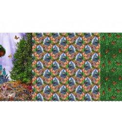 Tricot met konijntjes 12630 groen 025