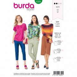 Burda 6329 Shirts van Jersey, Tricot, Punti of French Terry