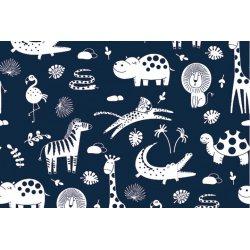 Katoen Poplin Safari Dieren 13075 blauw 008