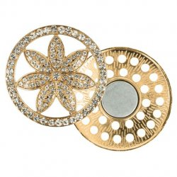 Magnetische broche bloem 45mm goud  64263-GO