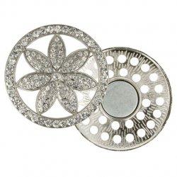 Magnetische broche bloem 45mm zilver 64263-NI