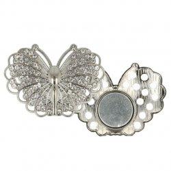 Magnetische broche vlinder 45mm zilver 64264-NI