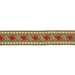 Sinterklaasband 30mm Rood, Goud 612-30-722