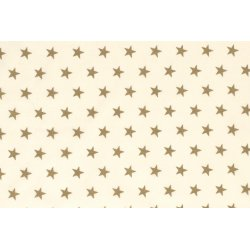 Poplin Katoen grote gouden sterren 12704 ecru 051