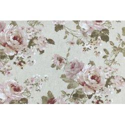 Linnen look bedrukt met bloemen 01302 wit 051