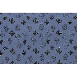 Tricot met glimmende cactus 13048 blauw 006