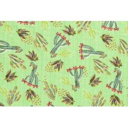 Katoen Viscose met Cactus 13227 groen 021