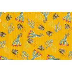 Katoen Viscose met Cactus 13227 geel 035