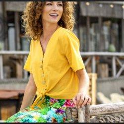 Stof voor blouse model D2007 uit Miss Doodle voorjaar zomer 2020 art  03649 geel 034