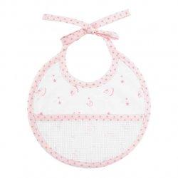 DMC Baby Stars geboorte slabbetje 21x19cm roze RS2624-ROZE