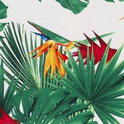 Satijn Stretch grote bloemen 13217 wit 050