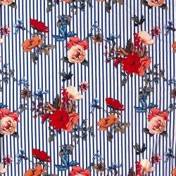 Crepe de Luxe stretch bloemen 13267 Kobalt 005
