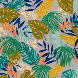 Canvas Tropische Bladeren V 07400 grijs 004