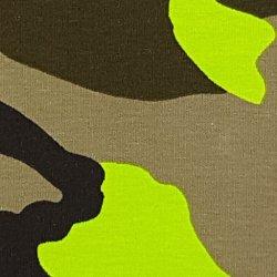 Tricot Katoen Camouflage met Neon 132127 Groen 0801