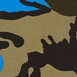 Tricot Katoen Camouflage met Neon 132127 blauw 0803