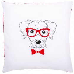 Borduurkussen kit Hond met rode bril