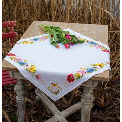 Aida tafelkleed kit Kleurige bloemen PN-0183789