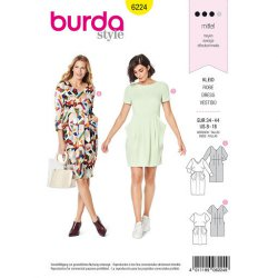 Burda 6224 Jurkjes van viscose, crepe of satijn