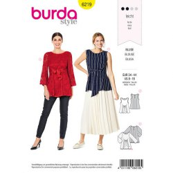 Burda 6219 Tops van viscose, crepe chiffon of satijn
