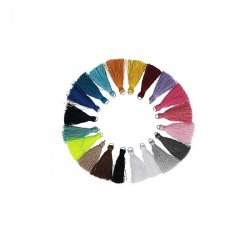 Kwastje glans met ring 4,0cm lang 5x20 kleuren 79752