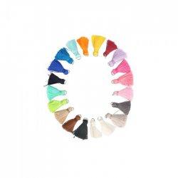 Kwastje glans met ring 2,0cm lang - 5st x 20 kleuren