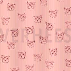 Poplin hoofd luipaard 07661V roze 001