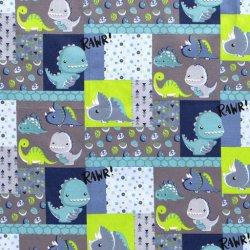 Poplin Dino 14398 Aqua 004
