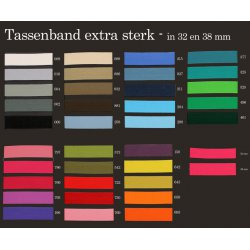Keperband tassenband extra stevig. in 32 of 38 mm. Per cm/mtr te bestellen