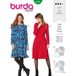 Burda 6162 Jurken van Viscose, Crepe of Stofmenging