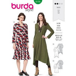 Burda 6176 Jurken van Crepe. Viscose of stofmenging