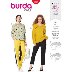 Burda 6151 Truien van Gebreid, Fleece of Punti