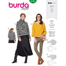 Burda 6163 Pullovers van Gebreid, Jersey, Fleece of Jogging