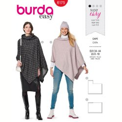 Burda 6175 Cape van Jersey, Gebreid of Fleece