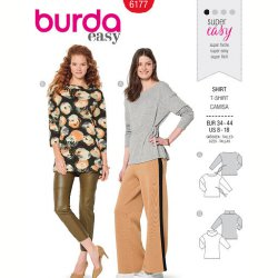 Burda 6177 Shirts van Tricot/Jersey of Jogging