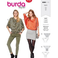 Burda 6192 Shirts van Viscose, Crepe of Satijn