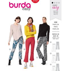 Burda 6152 Broeken van wol, jeans of gabardine stretch