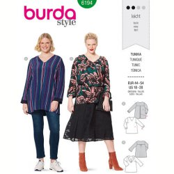 Burda 6194 Tuniek van Viscose, Satijn, Crepe of Stofmenging